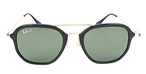 Ray-Ban Unisex-Adult Injected Unisex Sunglass Polarized Square Sunglasses, BLACK, 52.0 mm