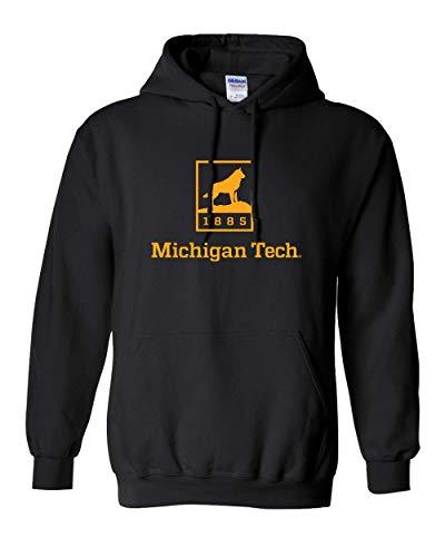 CreateMyTee | Michigan Tech Huskies 1885 One Color Hooded Sweatshirt | (Black, Large)