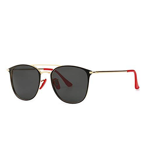MarXixi Gafas de Sol polarizadas Gafas de Sol Classic Driving Toad Mirror 3601-C5 Marco Dorado película Gris