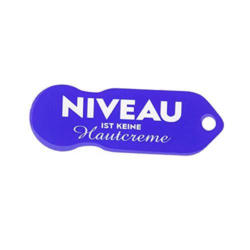 Code24 Einkaufswagenlöser 'Niveau ist keine Hautcreme', Schlüsselanhänger mit Einkaufschip & Schlüsselfinder, inkl. Registriercode für Schlüsselfundservice, Einkaufswagenchip mit Profiltiefenmesser