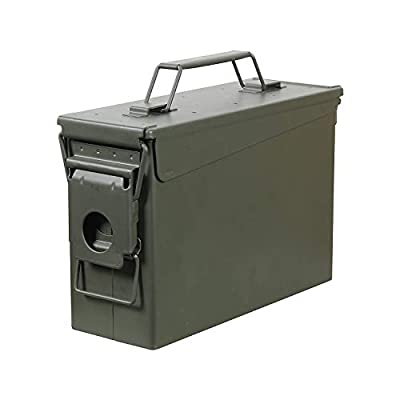 HARDROCK Metal Ammo Case Can 50 Caliber Military and Army Solid Steel Box