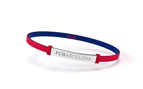 FCB Pulsera Fashion Roja Junior, Pulsera de silicona y acero inoxidable Fútbol Club Barcelona, Producto Oficial