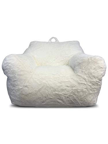 Heritage Kids Faux Fur Bean Bag Chair, White