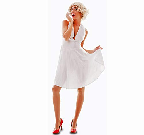 EUROCARNAVALES Disfraz de Mujer Hollywood Movie Diva Marilyn Dress White Movie Star Carnival (42)