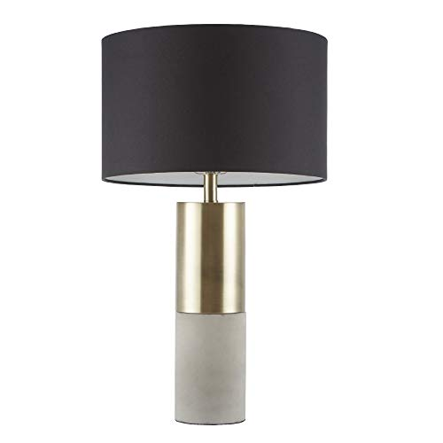 "Fulton Desk Lamp, Bedside Nightstand Bedroom Light Modern Luxe Metal, Concrete Base, Fabric Drum Shade Accent Furniture Décor, 27.5"" Tall, Gold/Black - Hampton Hill MPS153-0079"