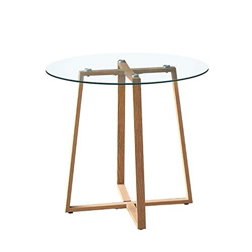 H.J WeDoo Esstisch Glas Runder Küchentisch Skandinavisch Couchtisch Klein Tisch HxD: 75 x 80 cm Holz Beinen, Transparent