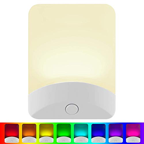 GE Color-Changing LED Night Light, Plug-in, Dusk-to-Dawn, Home Décor, Great for Kids, Ideal for Bedroom, Bathroom, Nursery, Kitchen, Basement, White Base, 34693