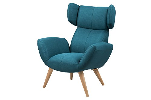 AC Design Furniture Sessel Bianca, B: 88 x T:90 x H: 109 cm, Stoff, Blau