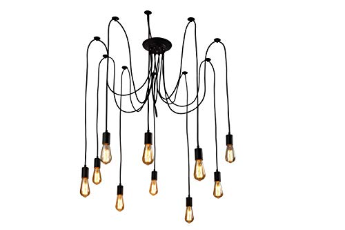 XIUDI 10 Arms Metal Pendant Lights,Industrial Ceiling Spider Lamp Fixture,Home DIY E26 Edison Bulb Chandelier Lighting,for Coffee Shop Dining Living Room Kitchen Balcony(Each with 78.74'/2M Wire)
