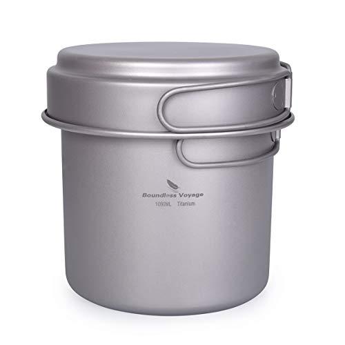 Boundless Voyage Camping Batterie de Cuisine Kit Pot en Titane Ensemble avec Poignée Pliante en Plein Air Cuisine Mess Kit Pots Pans Poêle Poêle Kit Mess Ti1586B