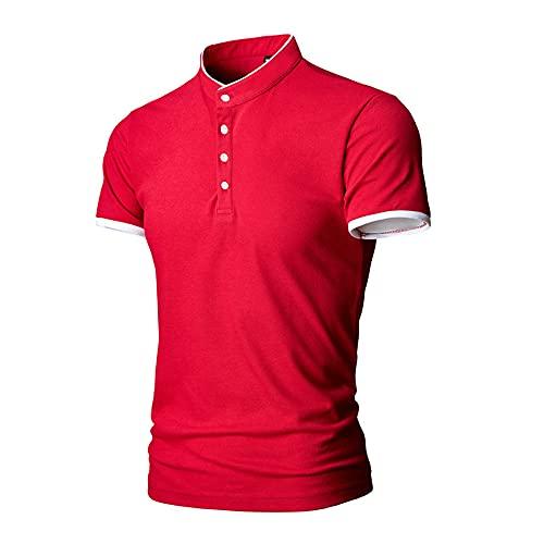 Henley Camisa Hombre Moderna Moda Botón Placket Slim Fit Hombre Shirt Verano Básico Stretch Collar Pie Hombre Camiseta Casual Transpirable Hombre Manga Corta