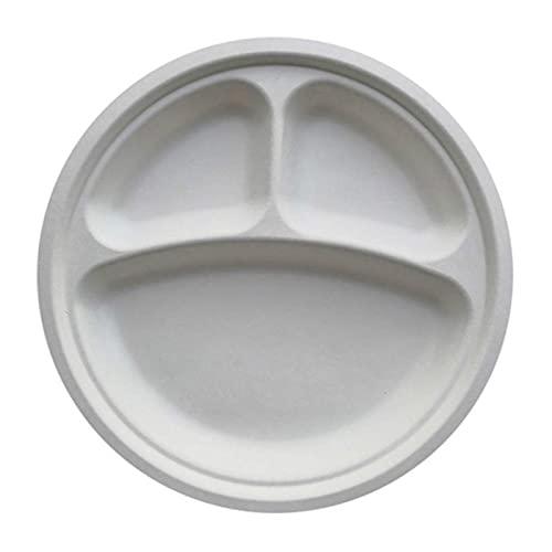 Tedchen Plato desechable Plato de Papel de bagazo Rejilla de Alimentos Juego Completo de Suministros para