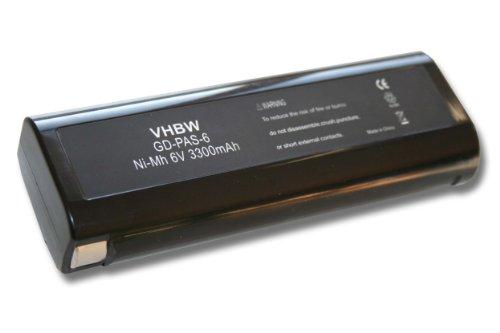 vhbw Akku passend für Paslode IM250, IM250 Li, IM250A, IM300, IM325, IM350 + Plus, IM350 Nail Gun Elektrowerkzeug (3300mAh, NiMH, 6V)
