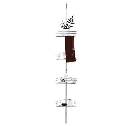 Joycelyn Estanteria de ducha, Estantes de Baño de esquina de metal telescópico con poste de tensión y 4 cestas de almacenamiento de secado rápido, Plateado, 91.7 - 95.7in