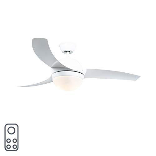 QAZQA Modern Plafondventilator wit met afstandsbediening - Bora 52 Glas/Kunststof/Staal Rond Geschikt voor LED Max. 2 x 20 Watt