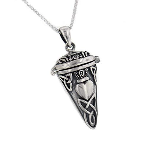 Celtic Knot Claddagh Perfume Vial - Poison Jar - Urn Pendulum Pendant w/ 18' Necklace - Sterling Silver