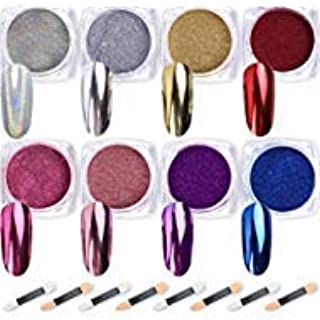 Nail Powder Wenida 8 Colors 1g/Jar Premium Mirror Laser Synthetic Resin Powder Manicure Art Decoration With 8pcs Eyeshadow Sticks