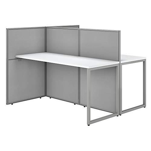 Bush Business Furniture Easy Office 60W Two Person Straight Desk Open Office in Mocha Cherry