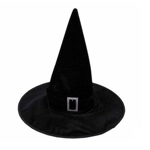 TOYVIAN Sombrero de Bruja, Mujeres Sombreros de Bruja para Halloween Accesorios de Disfraces , Terciopelo Negro, Medio