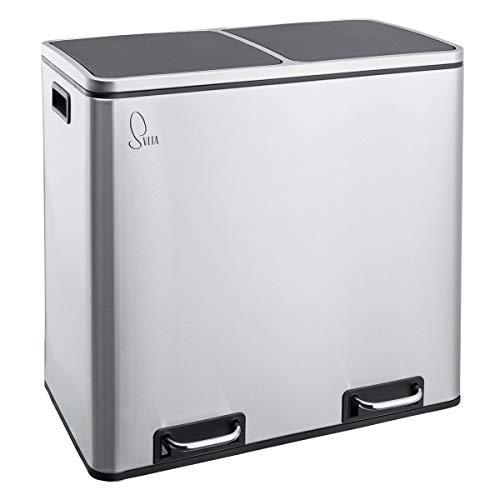 SVITA TM2X24 Treteimer Edelstahl 48 Liter Silber Abfalleimer Mülleimer Design Mülltrennung Papierkorb Küchen-Ordnung Trennsystem