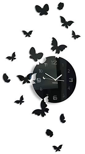 FLEXISTYLE Große Moderne Wanduhr Schmetterling rund 30cm, 15 Schmetterlinge, Wohnzimmer, Schlafzimmer, Kinderzimmer, Produkt in der EU hergestellt (Schwarz)