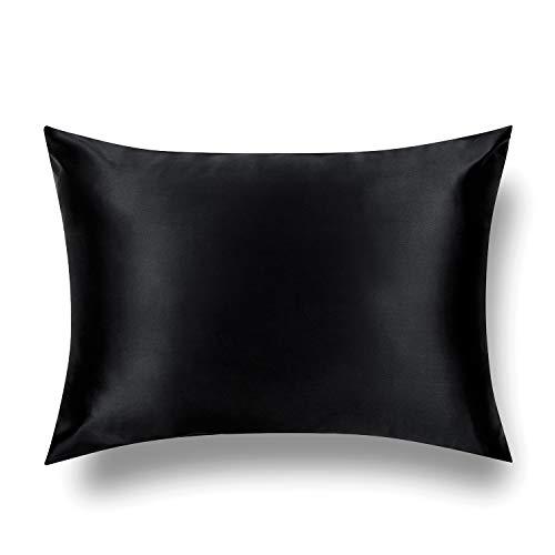 TAFTS Silk Pillowcase 22 Momme 100% Pure Mulberry Silk Pillowcase for Hair and Skin, Both Sides Grade 6A Long Fiber Natural Silk Pillow Case, Concealed Zipper, Queen, Midnight Black