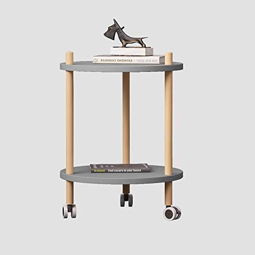 OUPAI MESAS Mesa auxiliar de sofá con ruedas, mesa de madera de madera de 2 niveles Bandeja de la mesa de la mesa de la mesa de la mesa, ropa de dormir Utility Cart, para el dormitorio de la sala de e
