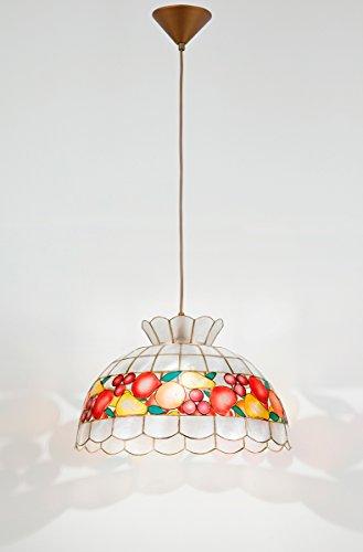 Sospensione Madreperla Decorata Motivi Di Frutta Con Pendel Oro Cocktail H5504