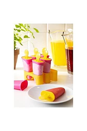 Ikea - Molde para helado de hielo paleta palo para hielo paletas conjunto (amarillo / rosa)