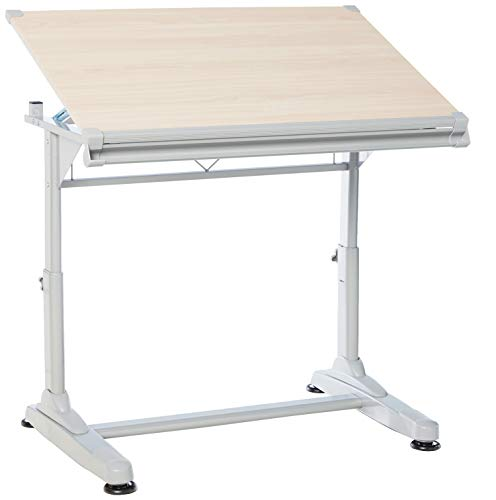 Stand Up Desk Store Height Adjustable Drawing and Drafting Table with 39.2' W x 27.5' D Surface, Silver Frame with Birch Top