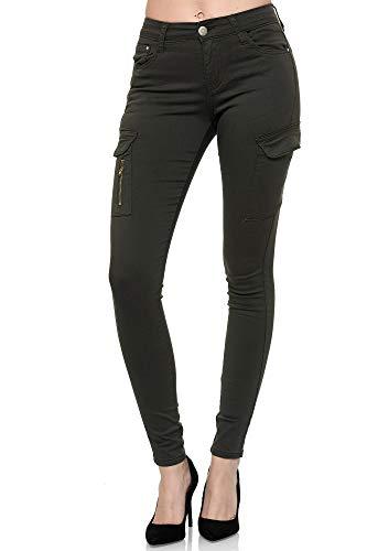 Elara Damen Cargo Jeans Slim Fit Seiten Taschen Chunkyrayan YA554 Olive-38 (M)