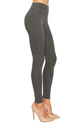 Cotton Spandex Basic Knit Jersey Regular and Plus Size Full Active Life Leggings for Women Charcoal M