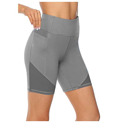 KUDICO Damen Leggings,Stretch Blickdicht Trainingsshorts Sporthose Hotpants Hohe Taille Figurformende Kurze Hose Yoga Shorts mit Taschen(Grau,XS)