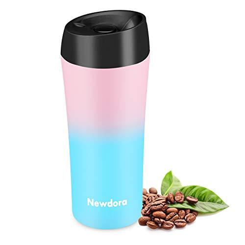 Newdora Thermobecher - 380ml Kaffeebecher to go, Edelstahl Isolierbecher, Reisebecher, BPA-Frei, hält 5h heiß/ 9h kalt, 100% dicht, auslaufsicher, Easy Quick-Press-Verschluss (Pink & Blue)
