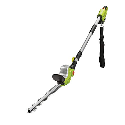 Cordless Telescopic 20V Hedge Trimmer Cutter, Electric Long Reach Extendable Pole 120° Adjustable Head & Dual Action Reciprocating 51cm Blades, Lithium-ion Battery & Shoulder Strap