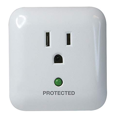 Prime Wire PB802105 1-Outlet Large Appliance Surge Protector with Surge Alarm,White