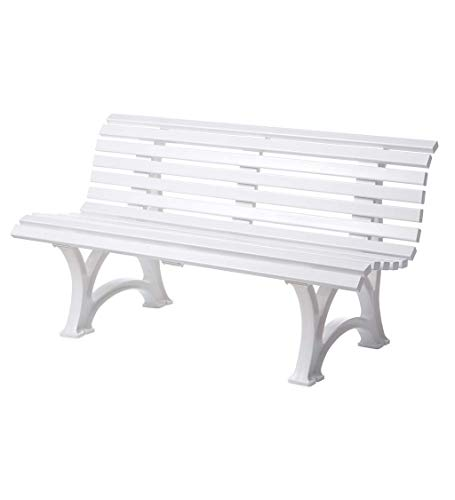 "Plow & Hearth German-Made, Weatherproof Resin 3-seat Garden Bench, Ergonomic Design, Holds Up to 500 lbs, Weighs 46 lbs, White, 59"" L x 26½""W x 31½""H"