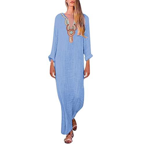 TWIFER Afrikanische Kleider für Damen Ärmelloses Maxikleid Mit Split Hem Baggy Beach Dresses(X3-Blau,XXL)