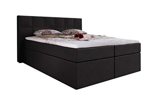 Furniture for Friends Möbelfreude® Boxspringbett Bea Kunstleder 220x200 cm Schwarz H3 inkl. Visco-Topper, 7-Zonen Taschenfederkern-Matratze