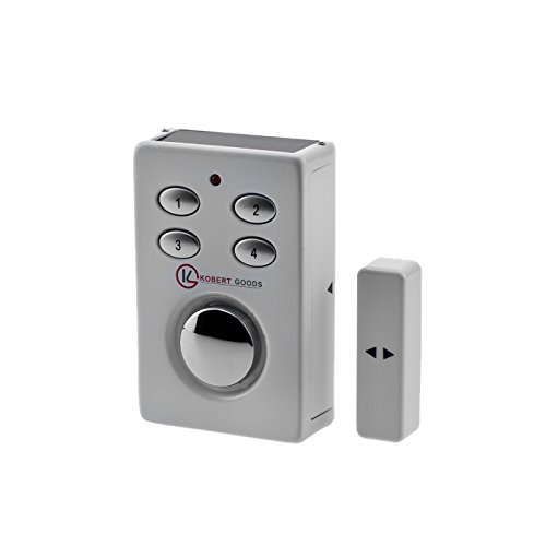 KOBERT GOODS SP65 weiß drahtloser Tür-, Fenster- oder Vitrinenalarm, Einsatz als Alarmanlage, Einbruchsschutz, Home-Security Mit PIN-Code-Eingabe, Magnet/Vibrationssensor sowie 130 db-Sirene