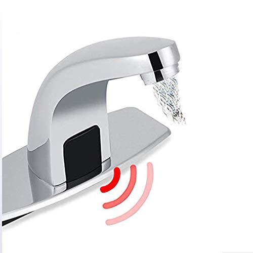 Handmatige automatische sensor Touchless plafondmontage van massief messing wastafel kraan met gaten afdekplaat handsfree chroom vanity-kranen