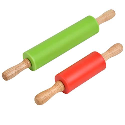 FOROREH Nudelholz Silikon Teigroller mit Holzgriff und Antihaft-Nudelhölzer zum Backen von Pizza - 2er Pack
