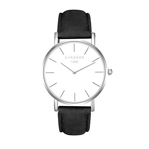 Mode Klassisch Unisex Damenuhren Herrenuhren PU Lederband Anolog Armbanduhren für Männer Frauen, Schwarz-Silber