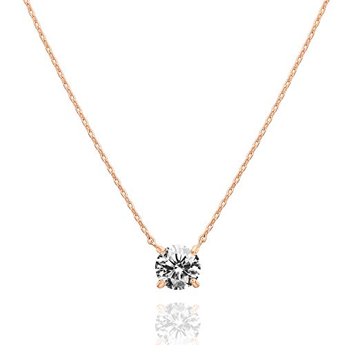 PAVOI 14K Gold Plated Swarovski Crystal Solitaire 1.5 Carat (7.3mm) CZ Dainty Choker Necklace   Rose Gold Necklaces for Women