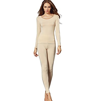 Liang Rou Women's Crewneck Long Johns Ultra Thin Modal Thermal Underwear Top & Bottom Set Apricot Small