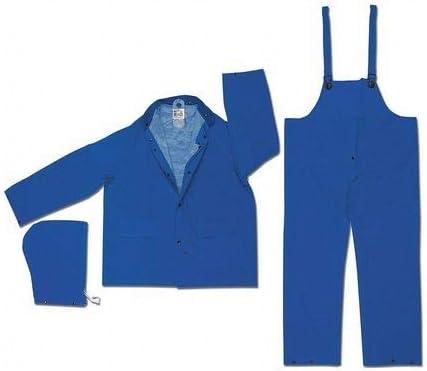 Rain Suit w/Jacket/Bib,PVC,Blue,2XL