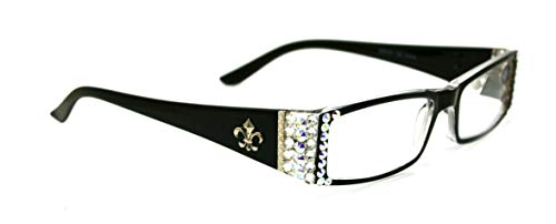 The French, (Bling) Fleur De Lis Women Reading Glasses Adorned with (Clear + Aurora Borealis) Swarovski Crystals +1 +1.50 +1.75 +2 +2.25 +2.50 +2.75 +3 Magnifying (Black) Rectangular. NY Fifth Avenue.