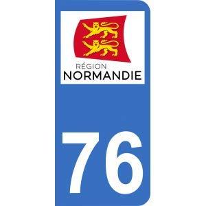 Pegatina 76 con logotipo de Nueva Región Normandia para matrícula de moto (6,3 x 2,9 cm)