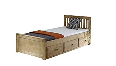 3ft Single Captain Cabin Storage Solid Pine Wooden Bed Bedframe - Waxed Pine Finish (Made from Brazilian Sustainable Pine)