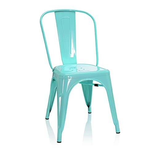 hjh OFFICE 645050 Bistrostuhl VANTAGGIO Comfort Metall Himmelblau Bistro Stuhl im Industry-Design, stapelbar